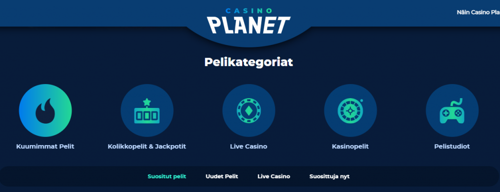 Casino Planetin pelikategoriat