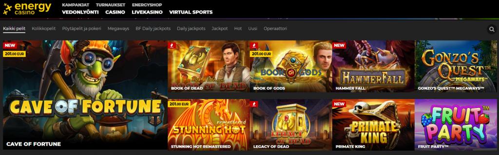 Energy Casinon pelivalikoimaa